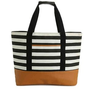 Brand new DSW black and white striped tote bag